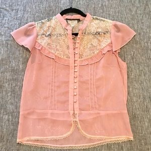 Dusty Pink LF Store Lace Short Sleeve Blouse